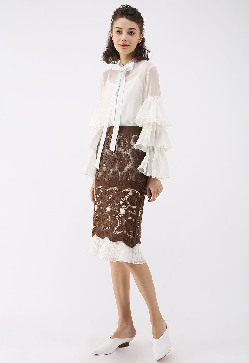 Sweet Impressions Tiered Sleeves Chiffon Top in White