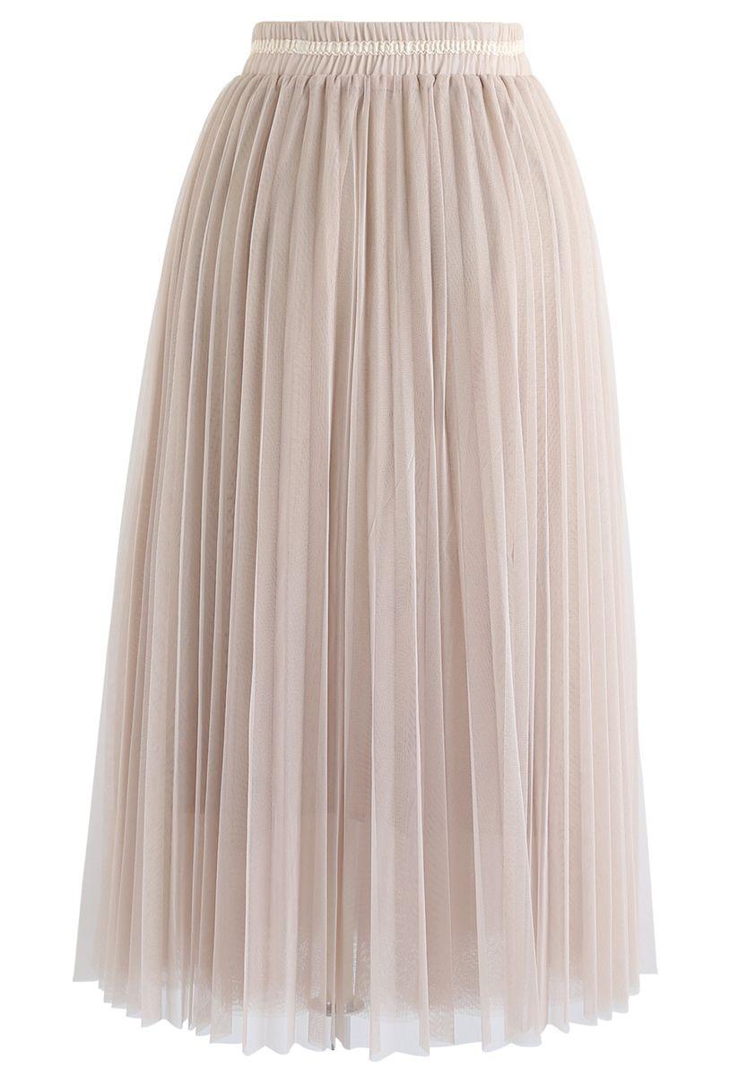 Brightness Layered Tulle Skirt in Cream