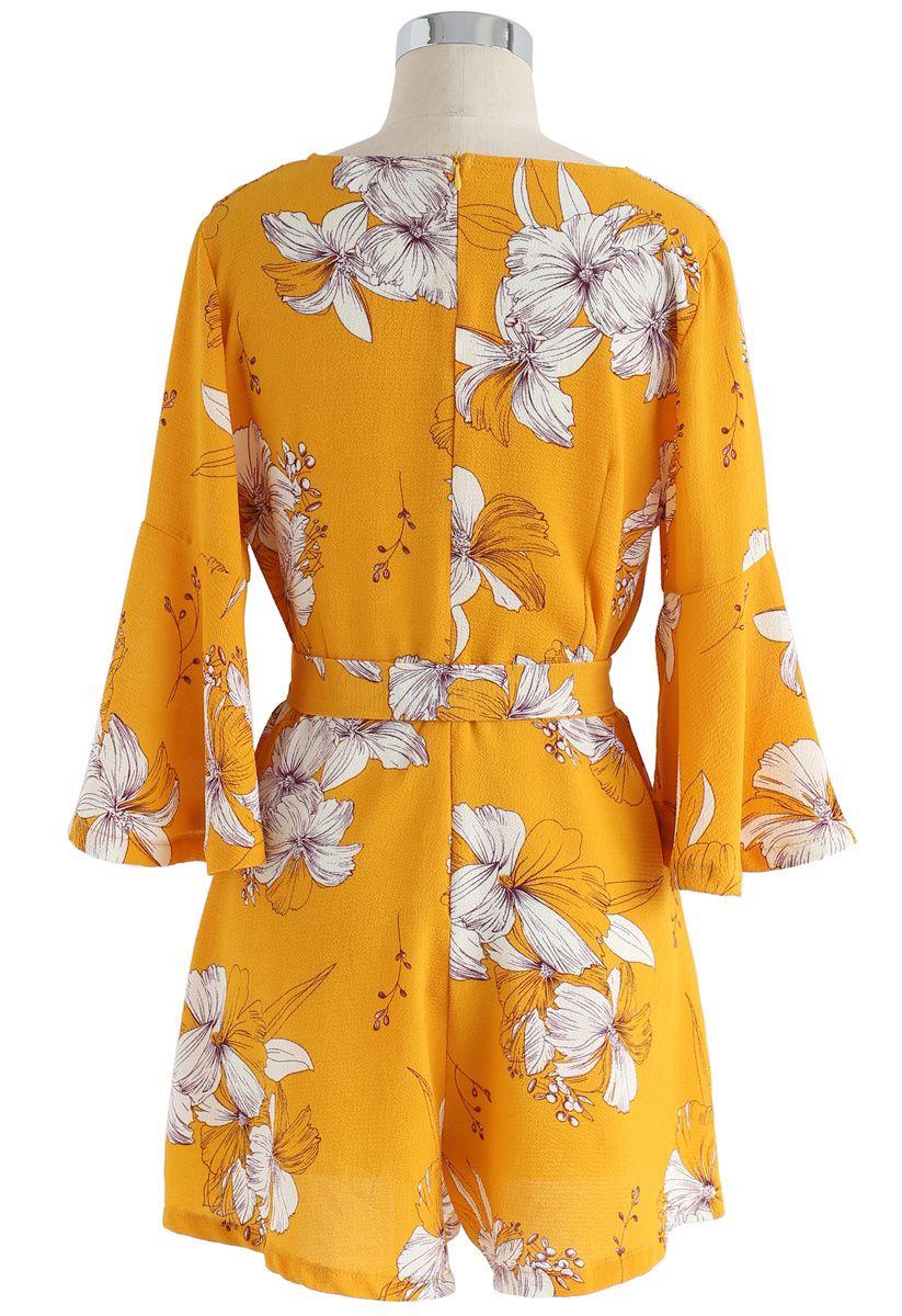 Yellow or Mint Floral frill hem detail Playsuit//Dress Size 6-8-10 Front wrap