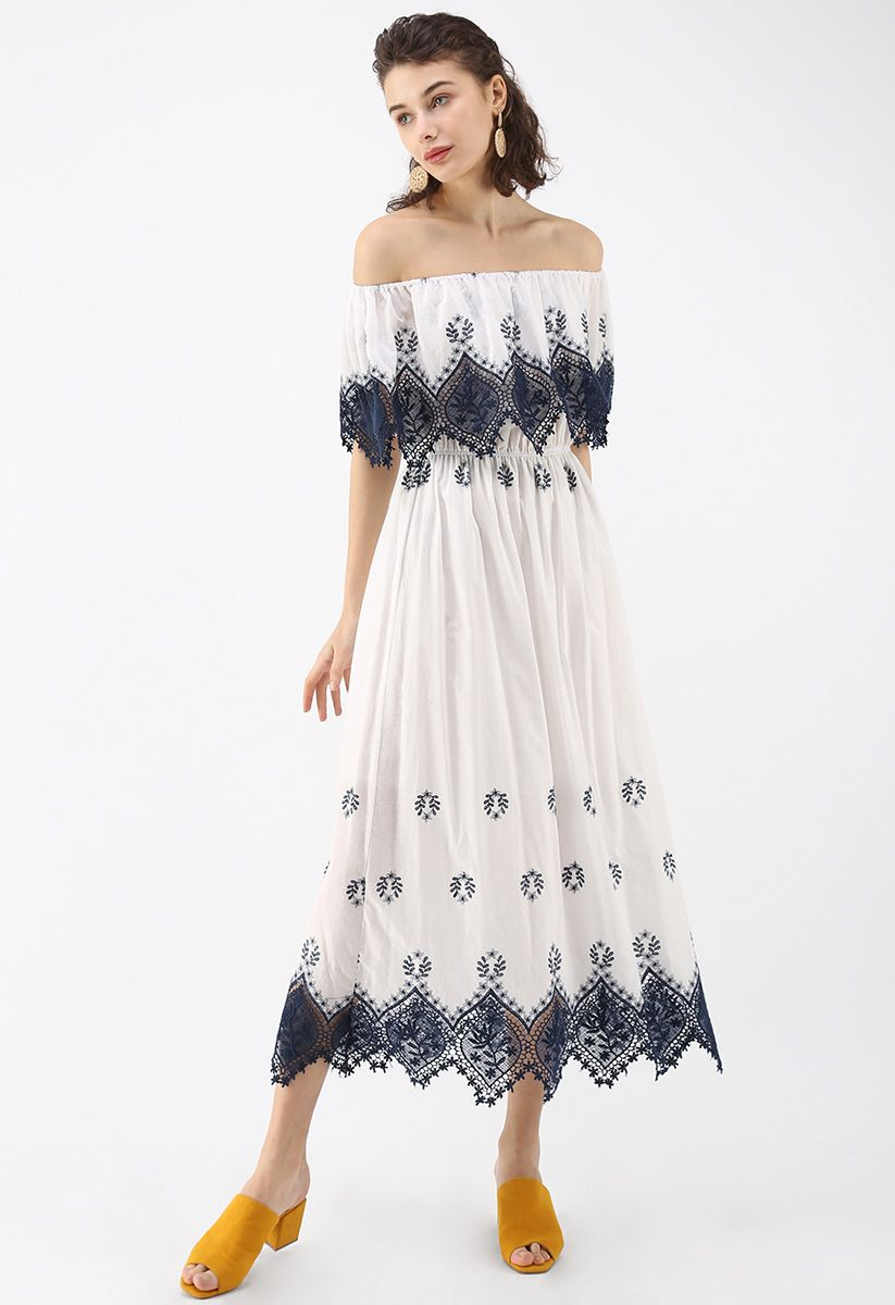 Lacey Flair Off-Shoulder Midi Dress with Navy Crochet