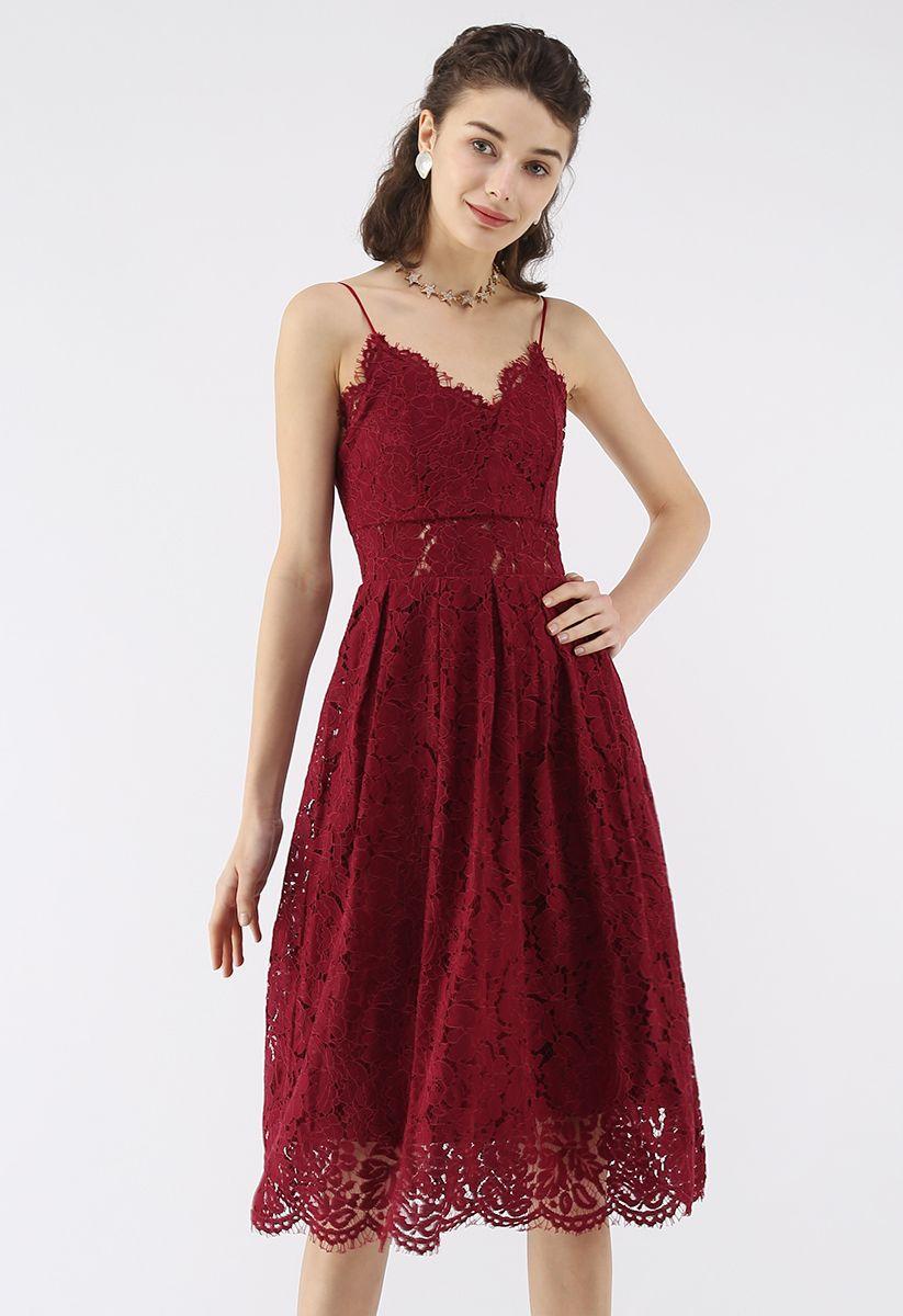 Spirit of Romance Lace Cami Dress in Wine
