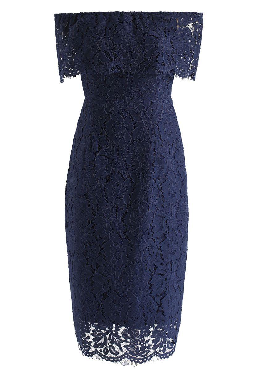 Flourishing Blooms Lace Off-Shoulder Dress in Royal Blue
