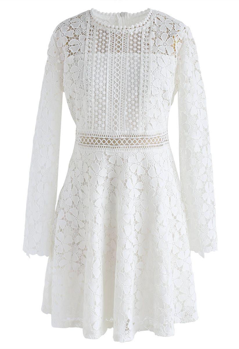 Garden Party Floral Crochet Dress in White