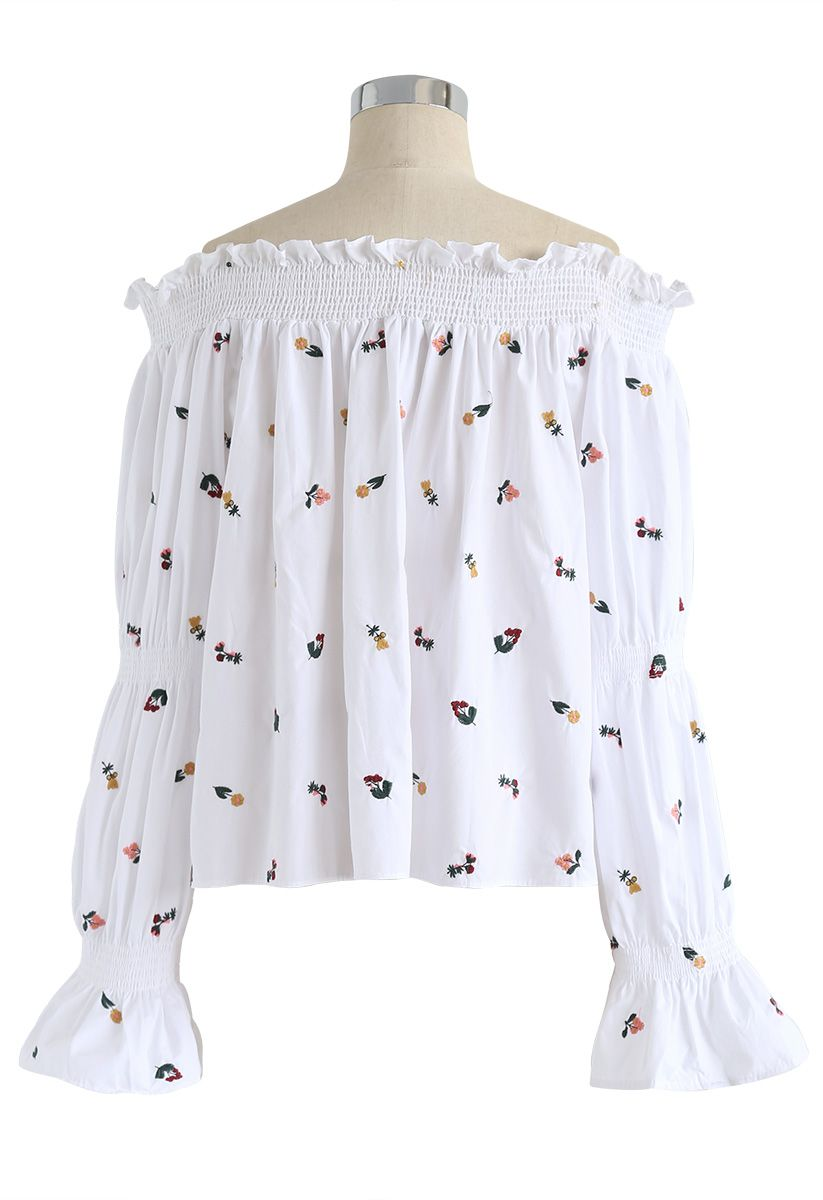 Dolce Floret Off-Shoulder Bubble Sleeves Top in White