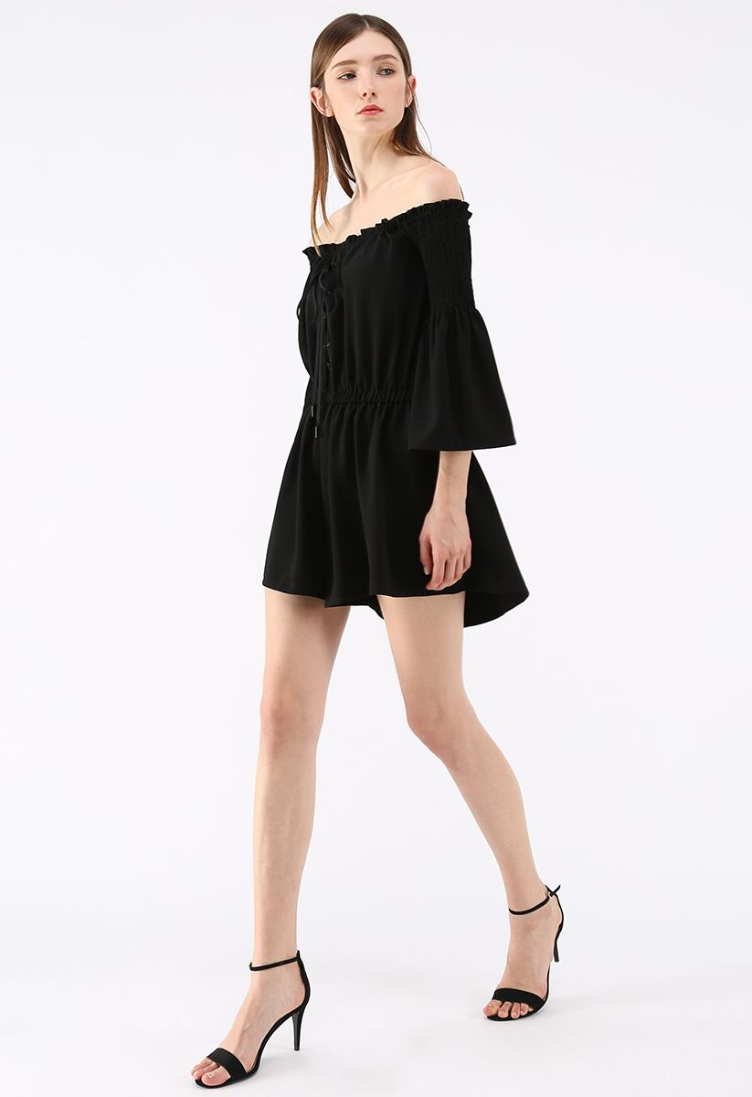 Daily Chic Off-Shoulder Playsuit in Black