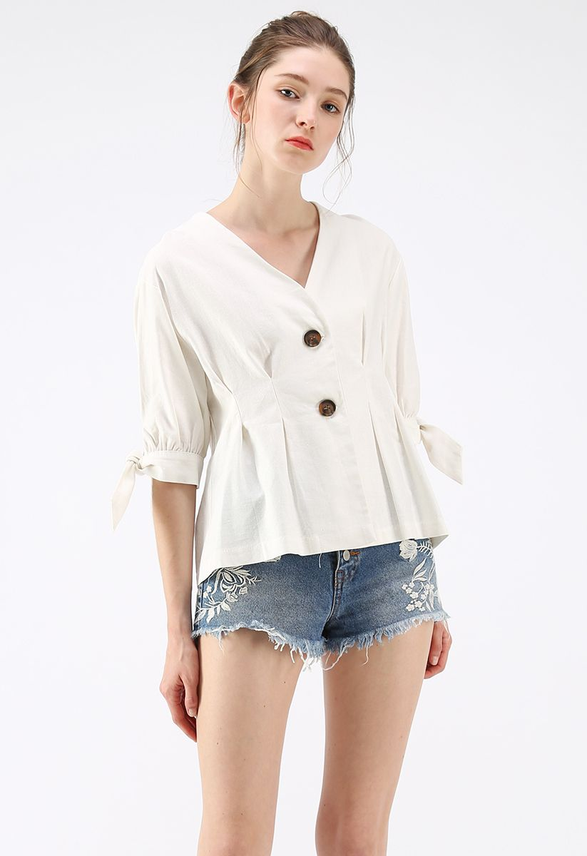 There Is A Light V-Neck Top in White