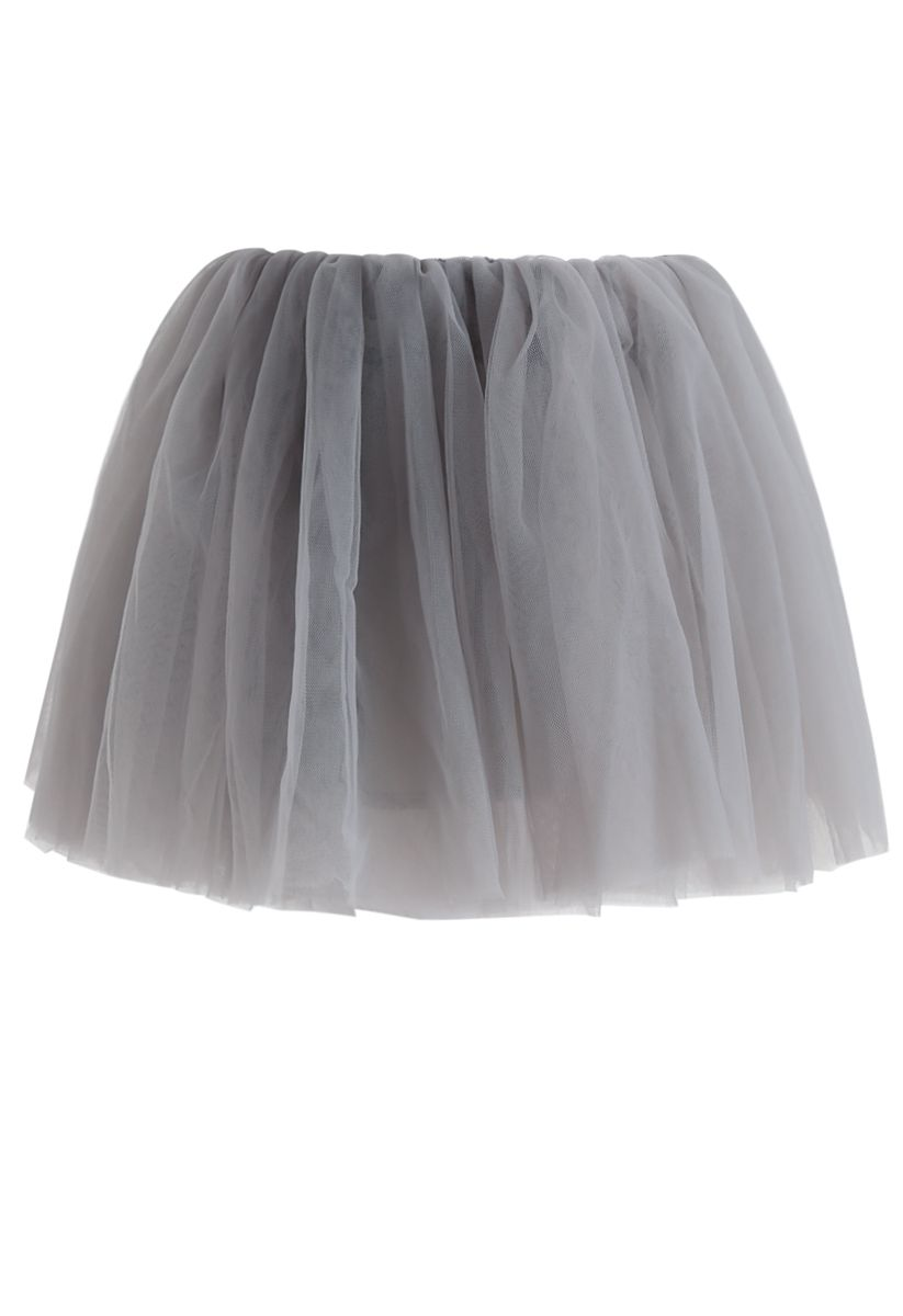 Amore Mesh Tulle Skirt in Grey For Kids
