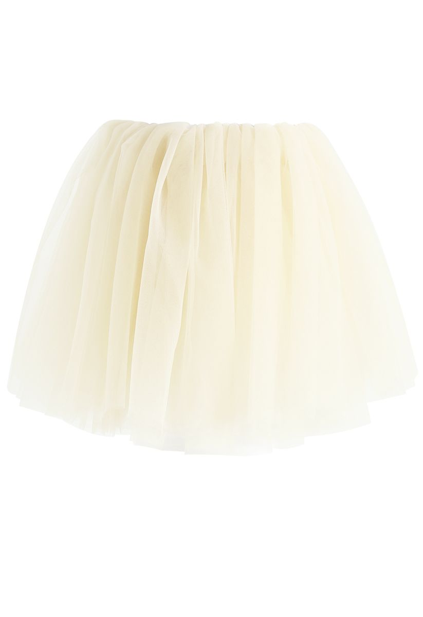 Amore Mesh Tulle Skirt in Cream For Kids