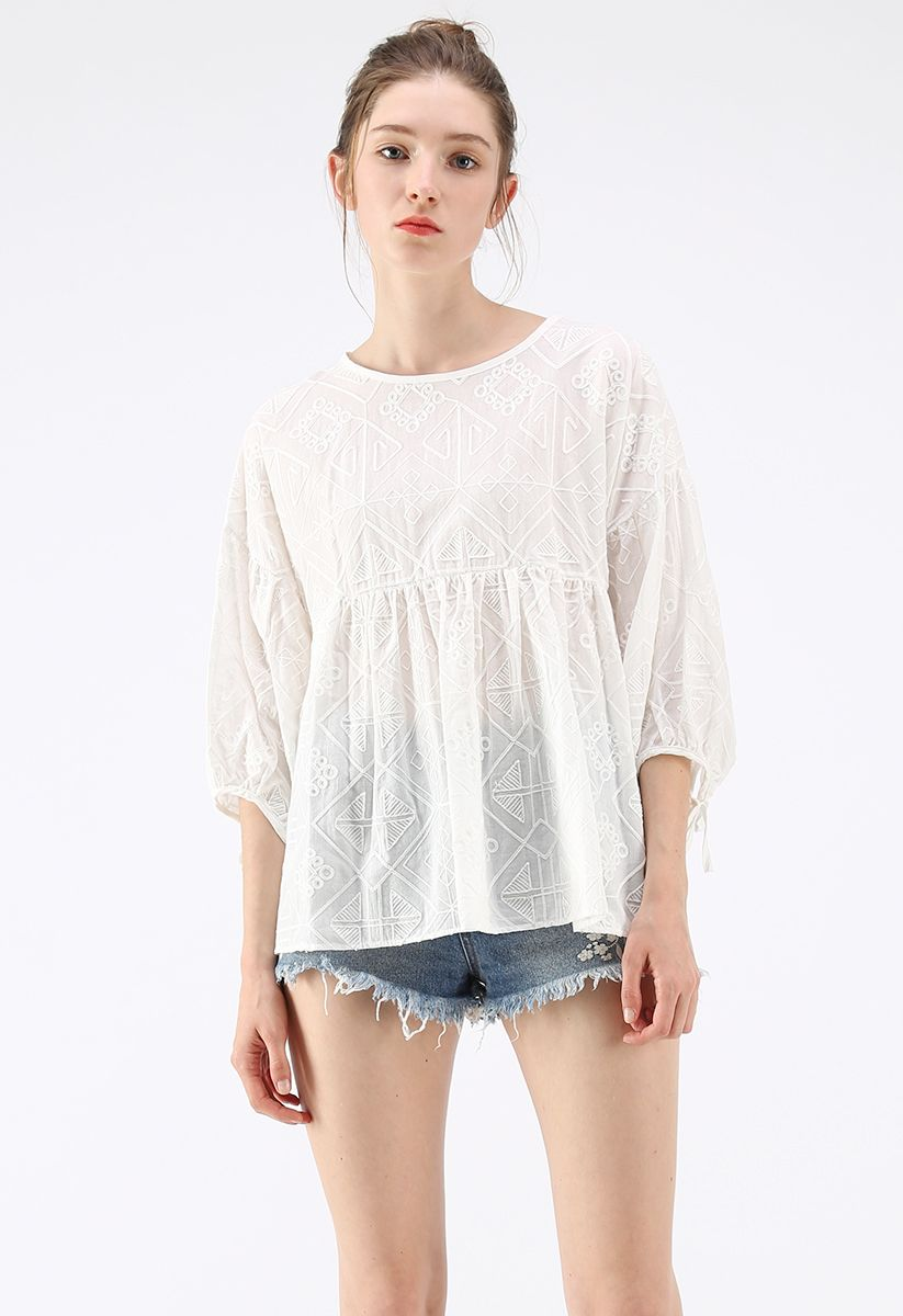 Boho Maze Embroidered Dolly Top in White