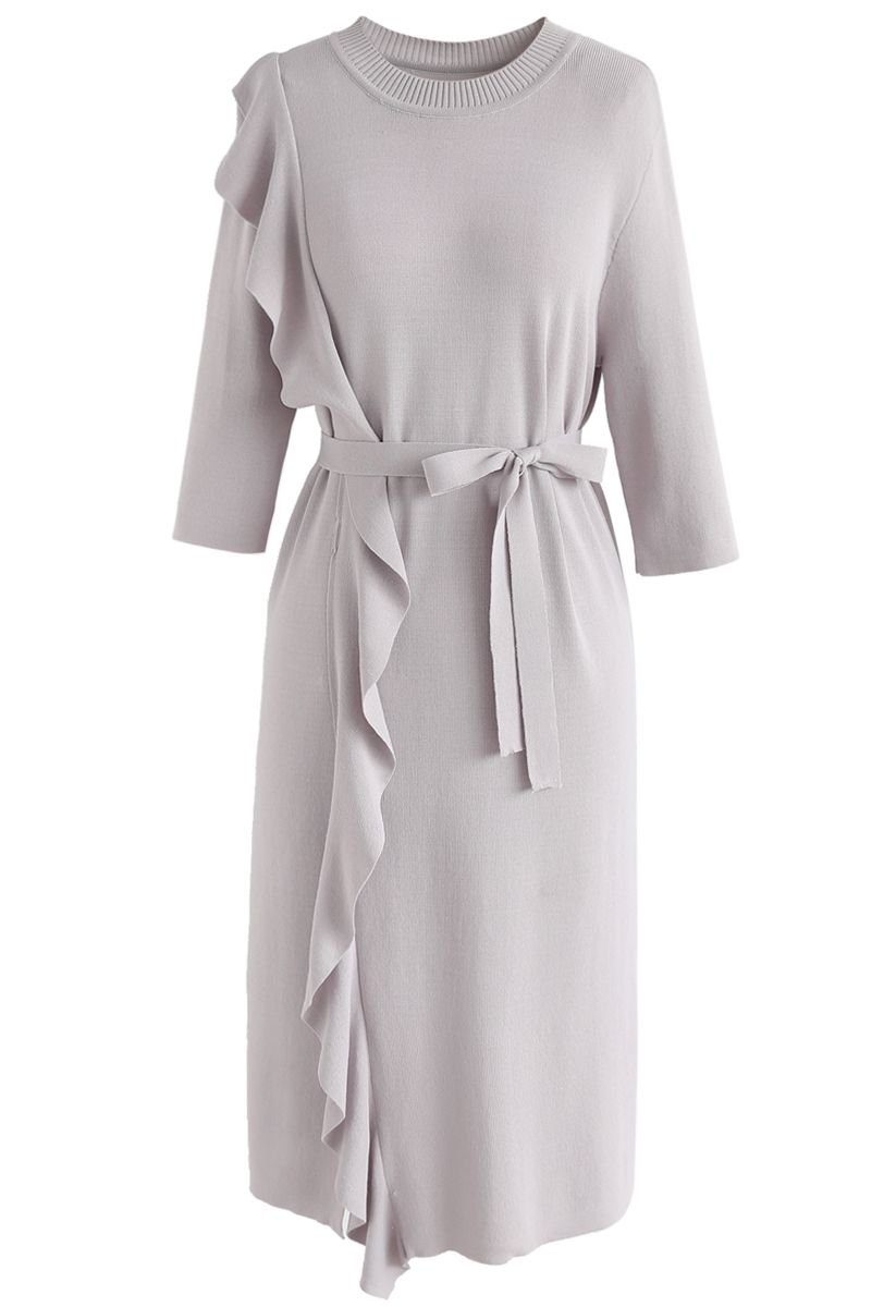 Raise Your Elegance Knit Shift Dress in Grey