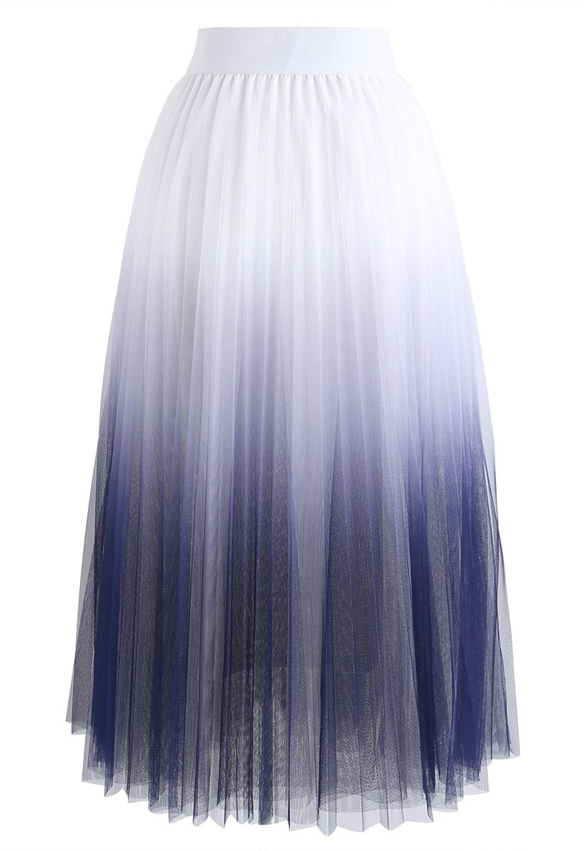 Cherished Memories Gradient Pleated Tulle Skirt in White