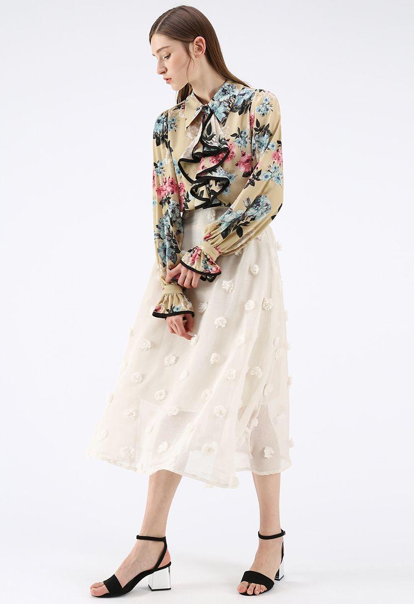 Cotton Candy Sheer 3D Flower Skirt in Cream