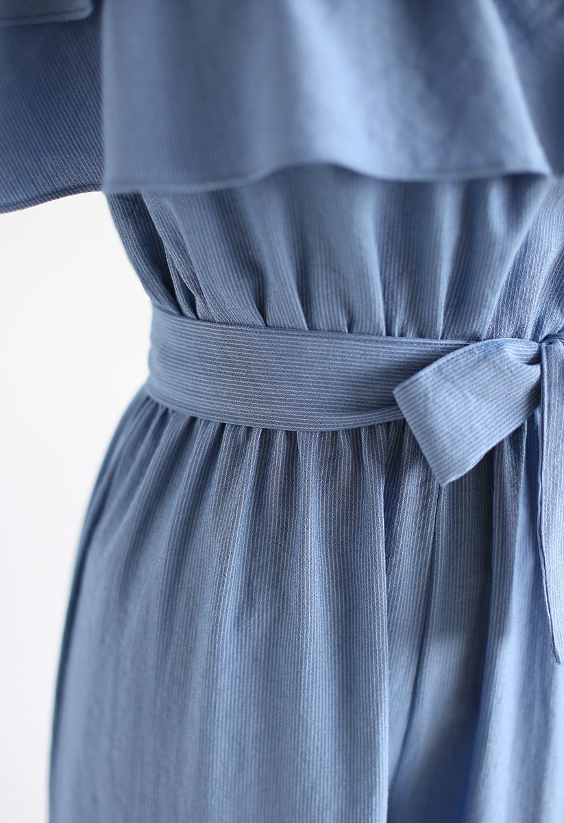 Summer Edition Off-Shoulder Ruffle Jumpsuit in Blue