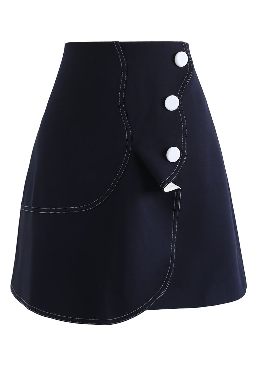 Subtle Wavy Flap Skirt in Navy
