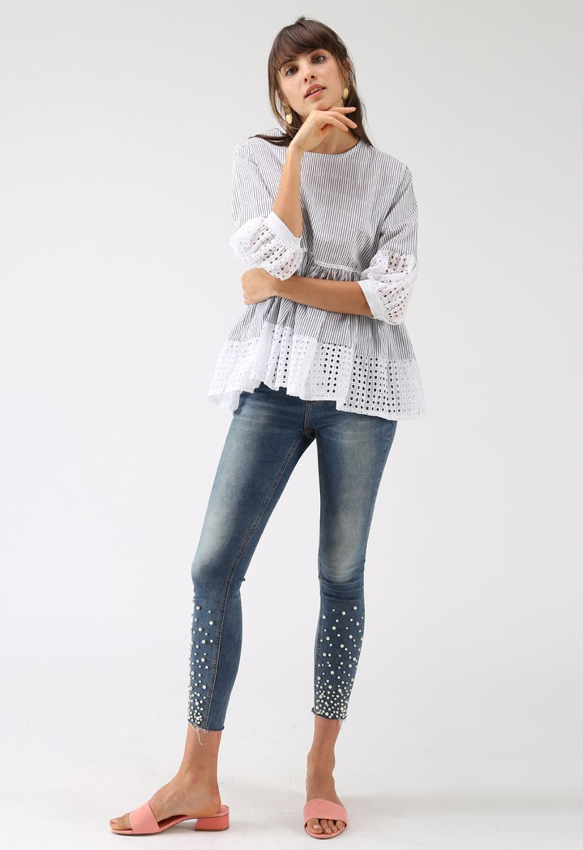 Eyelet Glee Striped Dolly Top in White