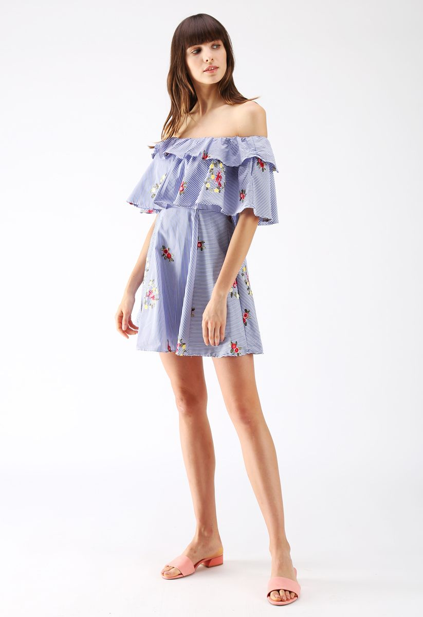 Heart to Love Embroidered Striped Off-Shoulder Dress in Blue