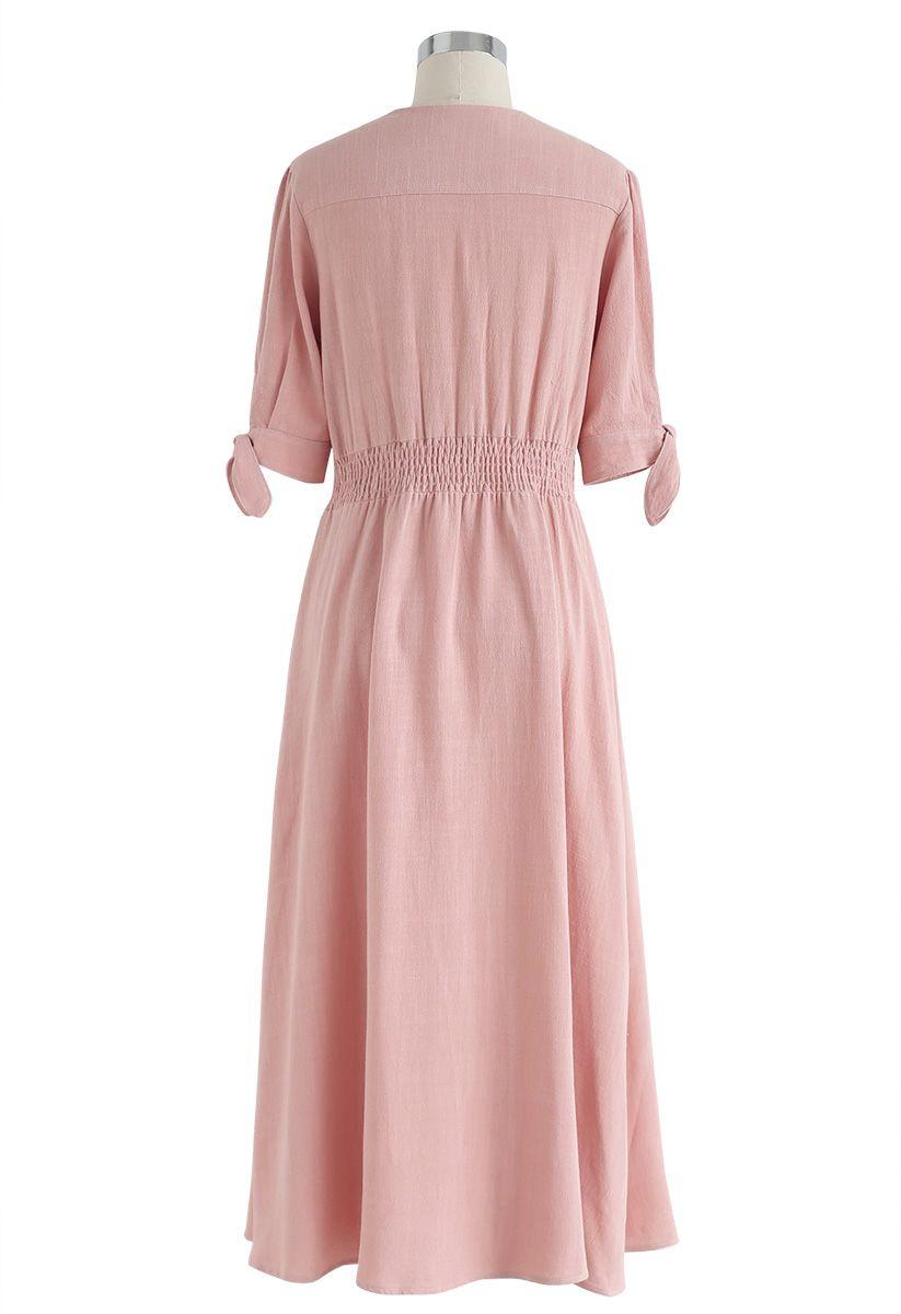 Summer Edition Button Down V-Neck Dress in Peach