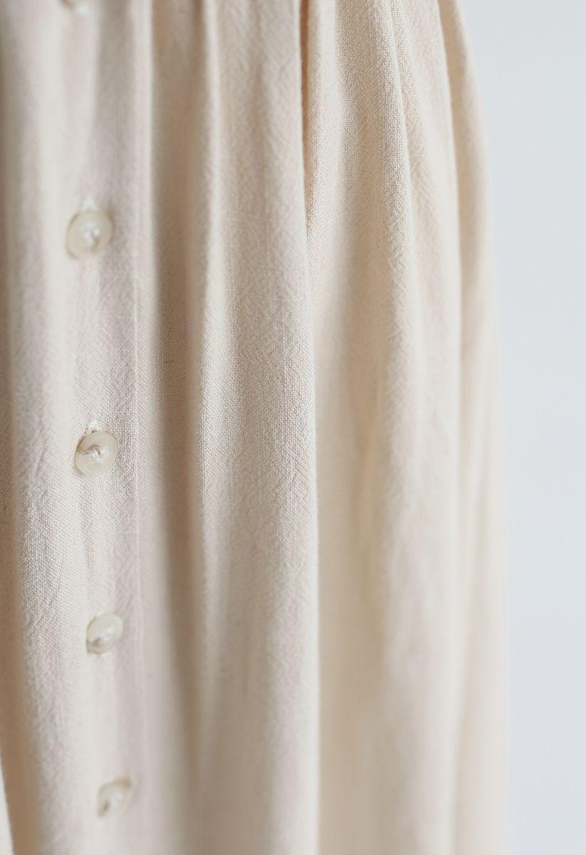 Summer Edition Button Down V-Neck Dress in Linen