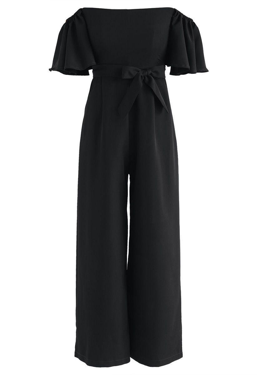 Find Your Bliss Off-Shoulder Jumpsuit in Black