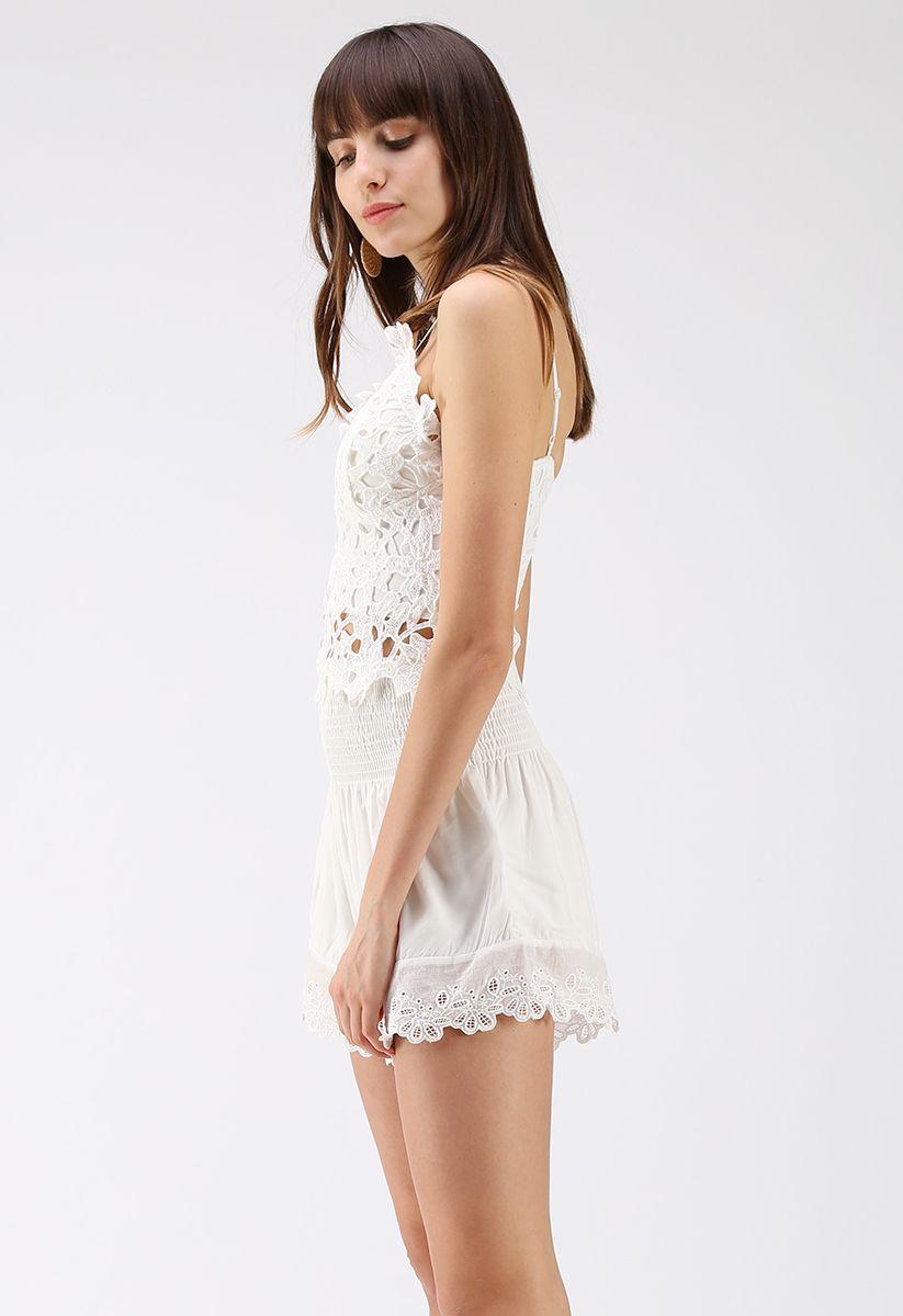 Full Flower Crochet Cami Crop Top in White
