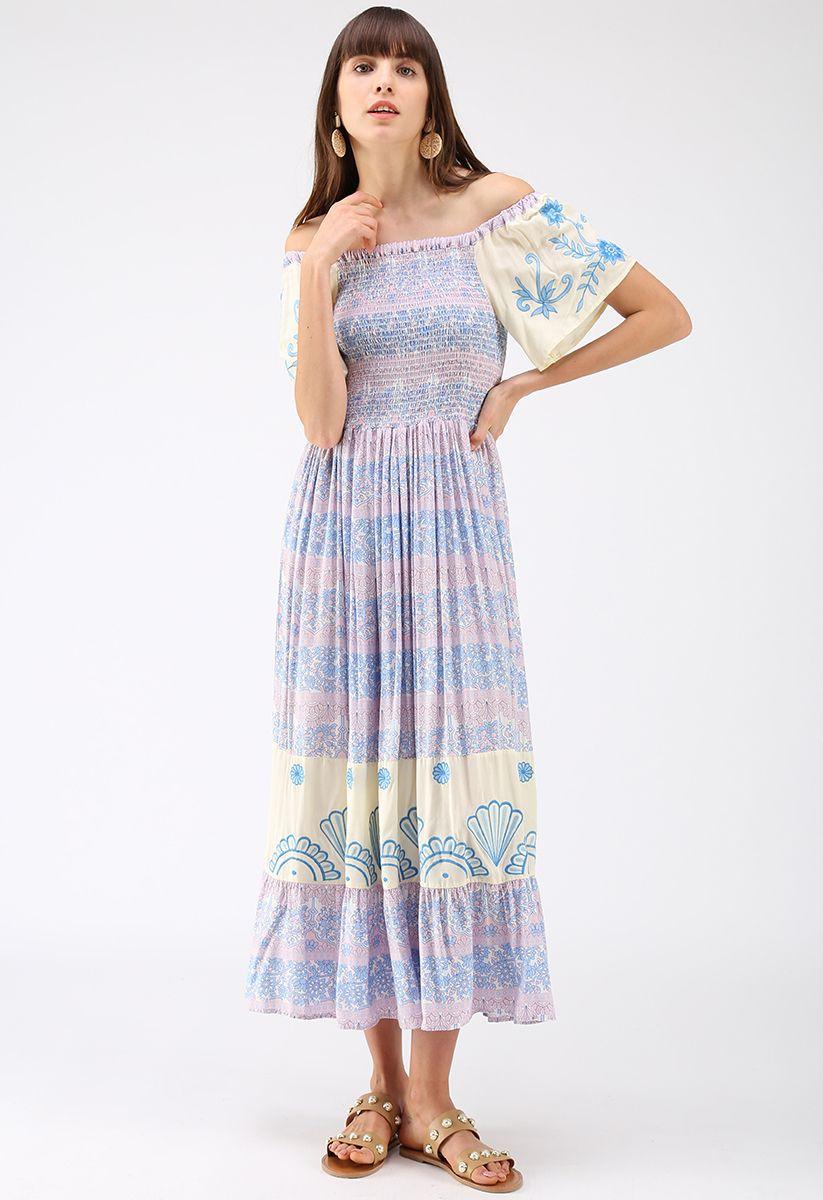 Blue and White Porcelain Floral Off-Shoulder Dress