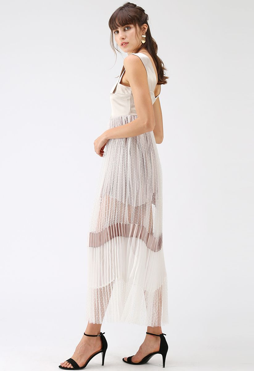 Beyond the Cloud Pleated Mesh Cami Maxi Dress