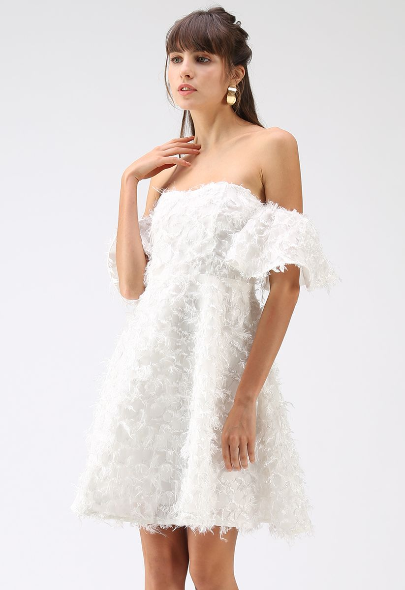 Show Me Feathers Tassel Off-Shoulder Dress in White