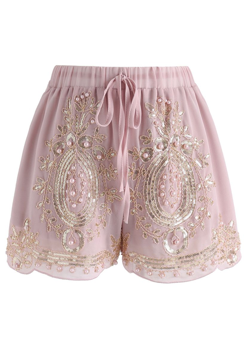 Shinning Pearls Trimming Chiffon Shorts in Pink
