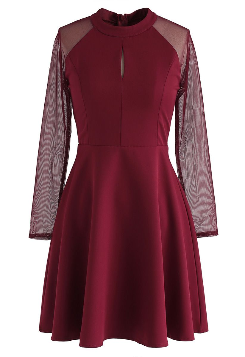 Elegant Edition Mesh Sleeves Dress in Red