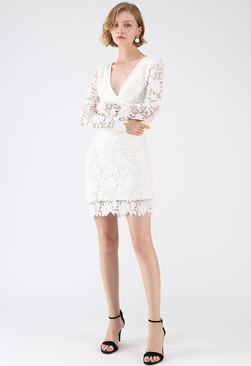 Love To Be Crochet Shift Dress in White