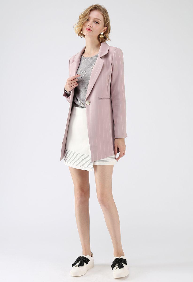 Get Closer to You Stripes Frontline Blazer in Pink