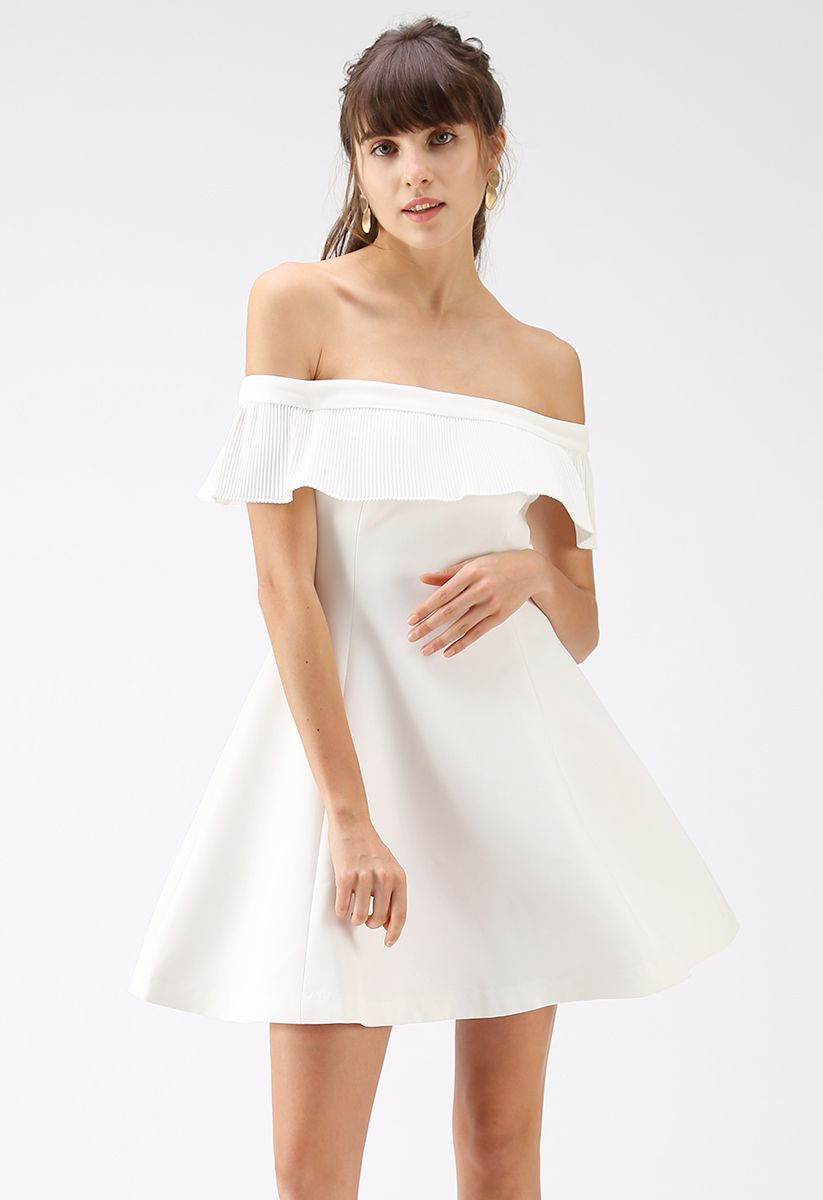 Let's Go for the Ball Off-Shoulder Dress in White
