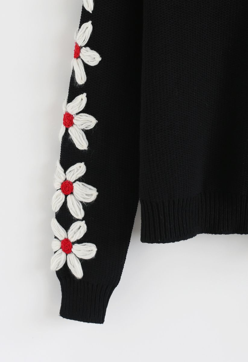 Daisy Bloom on Sleeves Knit Sweater in Black
