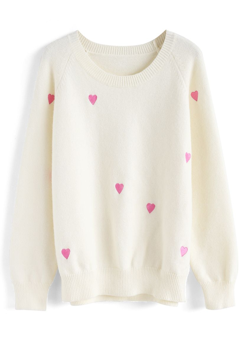 Sweet Love Spot Knit Sweater in White