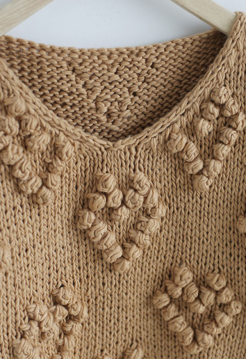 Knit Your Love V-Neck Sweater in Tan