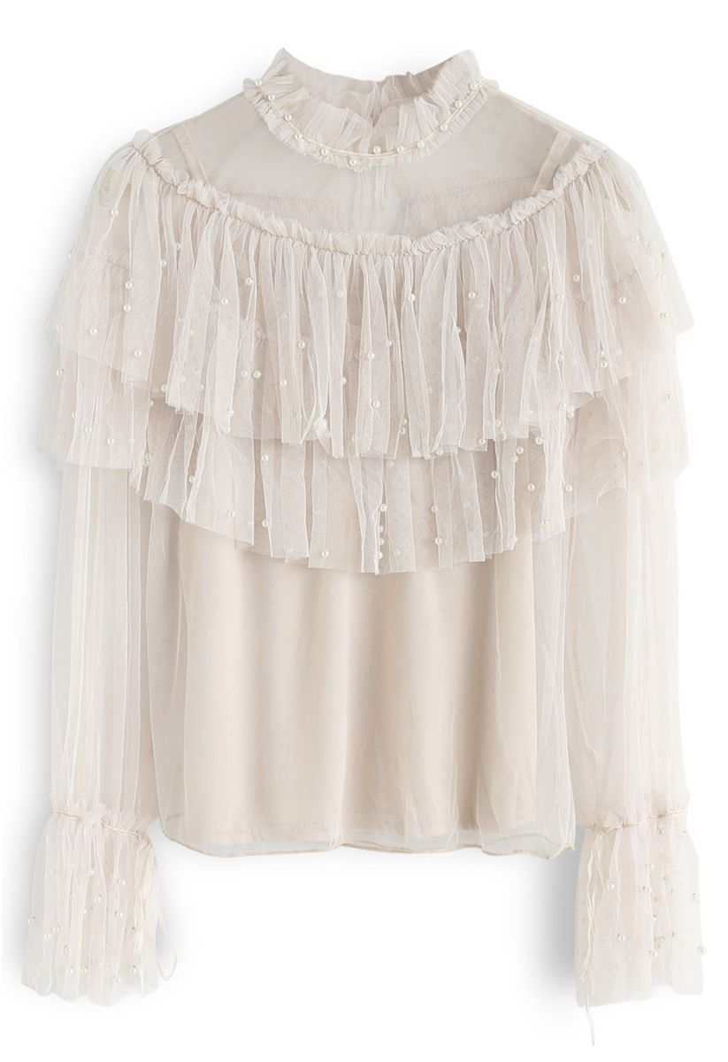 Vision of Pearls Mesh Top in Cream