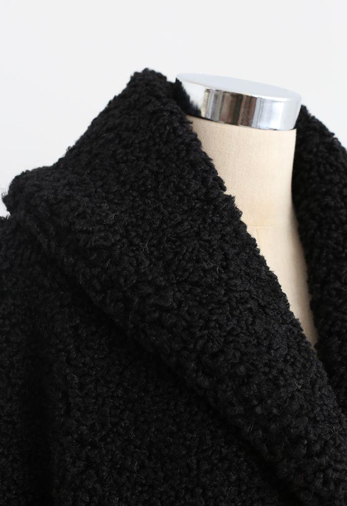 Feeling of Warmth Faux Fur Longline Coat in Black