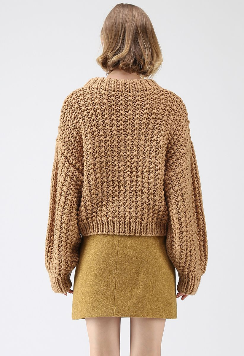 Chunky Chunky Puff Sleeves Cropped Sweater in Caramel
