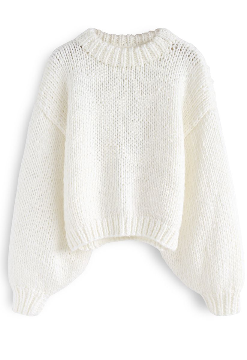 Chunky Chunky Puff Sleeves Cropped Sweater in White