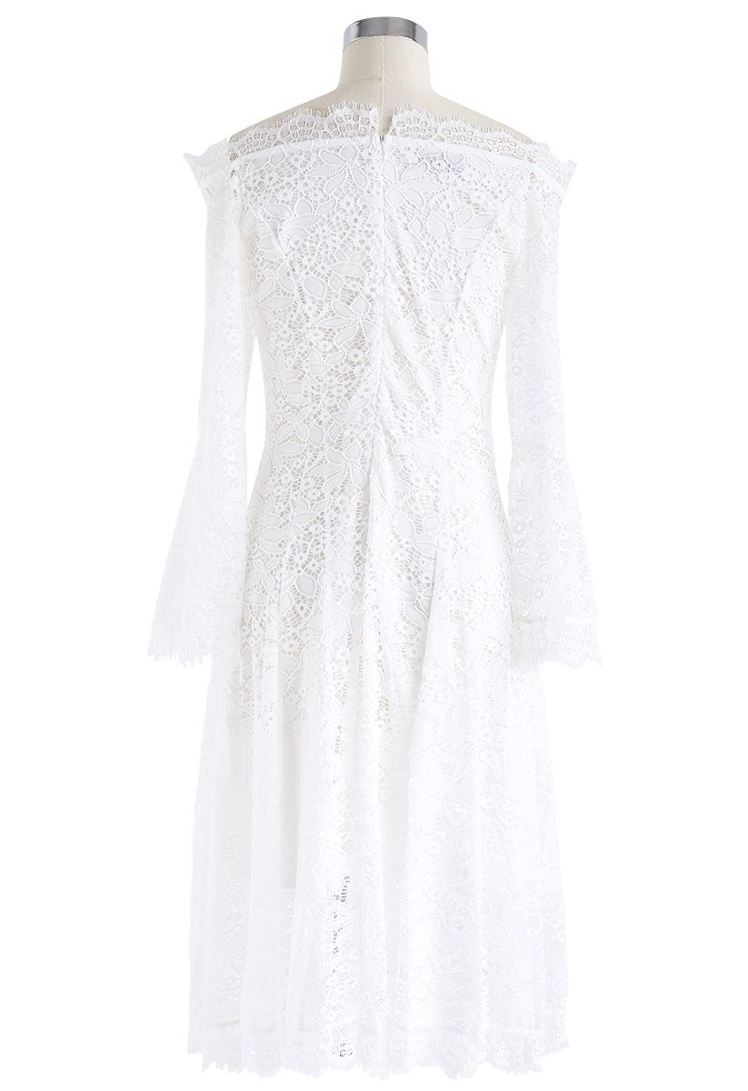Remember Me Off-Shoulder Lace Dress in White