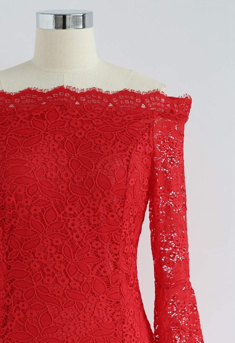 Remember Me Off-Shoulder Lace Dress in Red