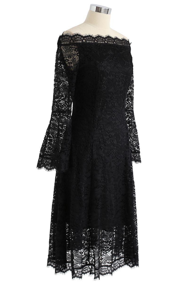 Remember Me Off-Shoulder Lace Dress in Black