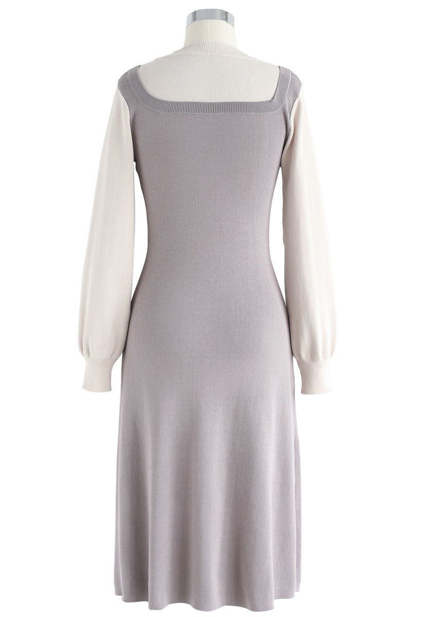 Elegant Identity Fake Two-Piece Knit Dress in Grey
