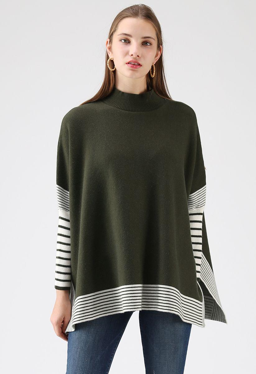 Lie in Olive Fields Striped Oversize Knit Cape Sweater