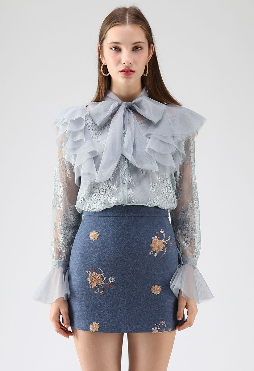 Floral and Ruffle Bowknot Lace Top in Dusty Blue