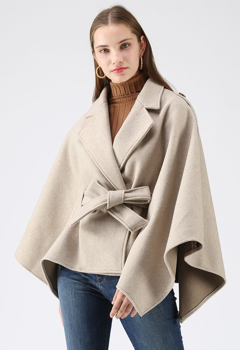 Just for Your Tenderness Cape Coat in Sand