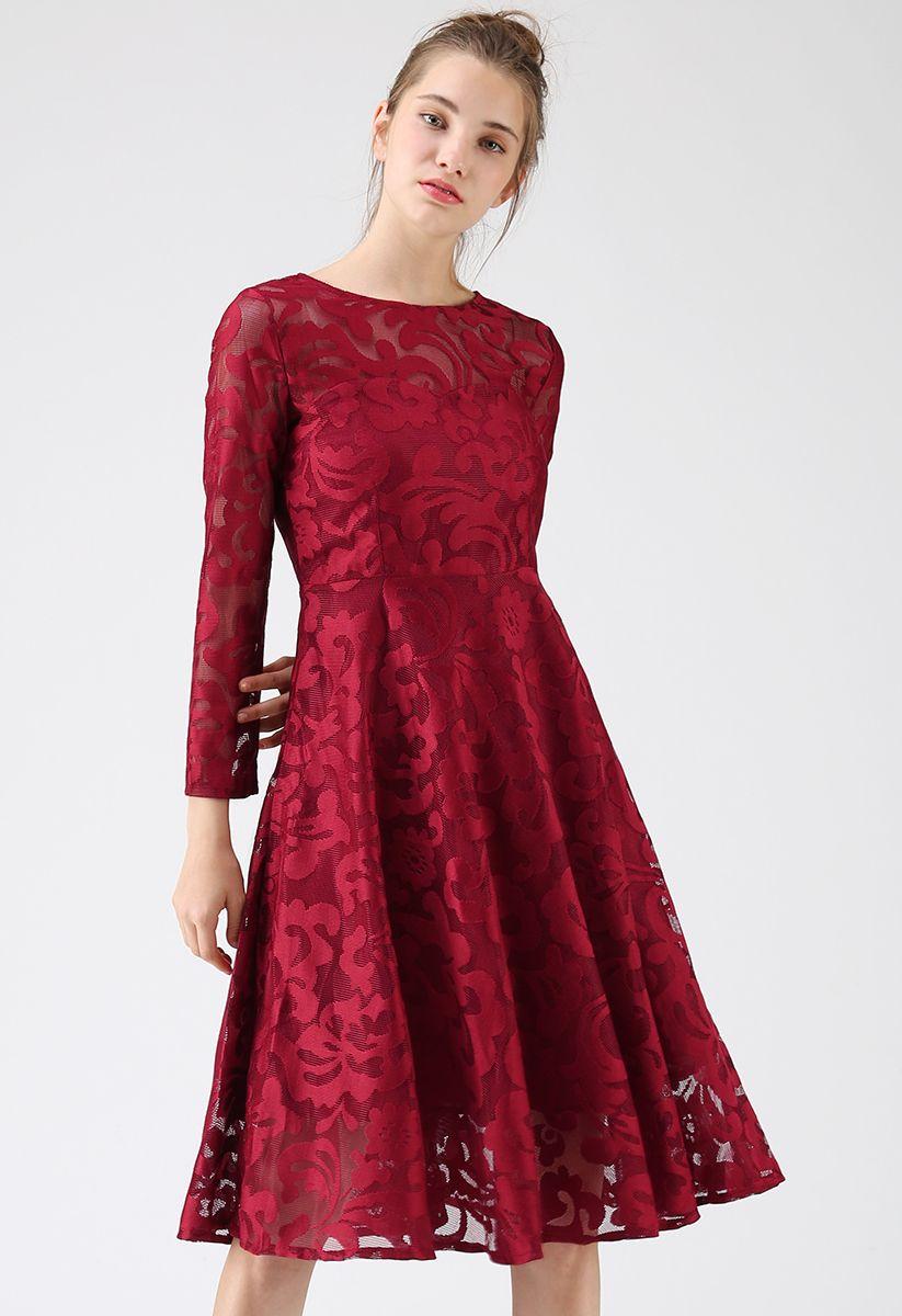 Soiree Stunner Mesh Midi Dress in Red