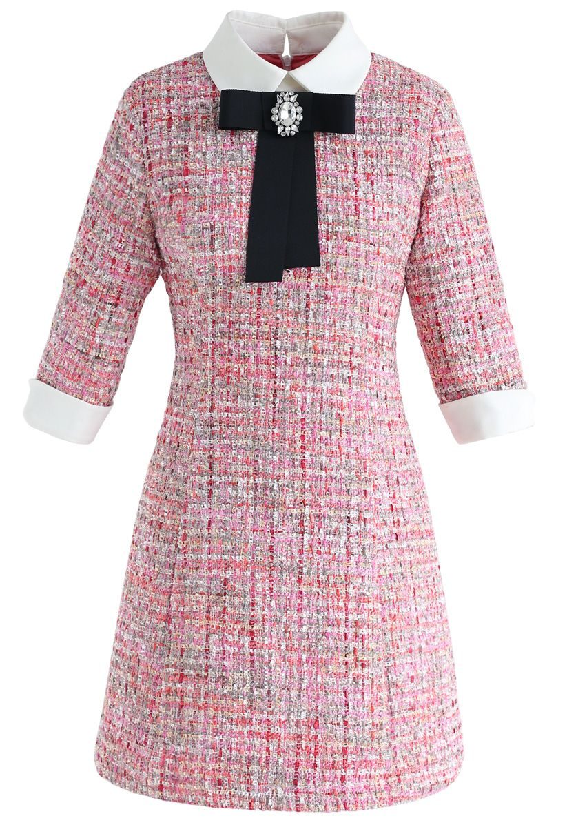 Knock on Your Heart Diamond Bowknot Tweed Dress
