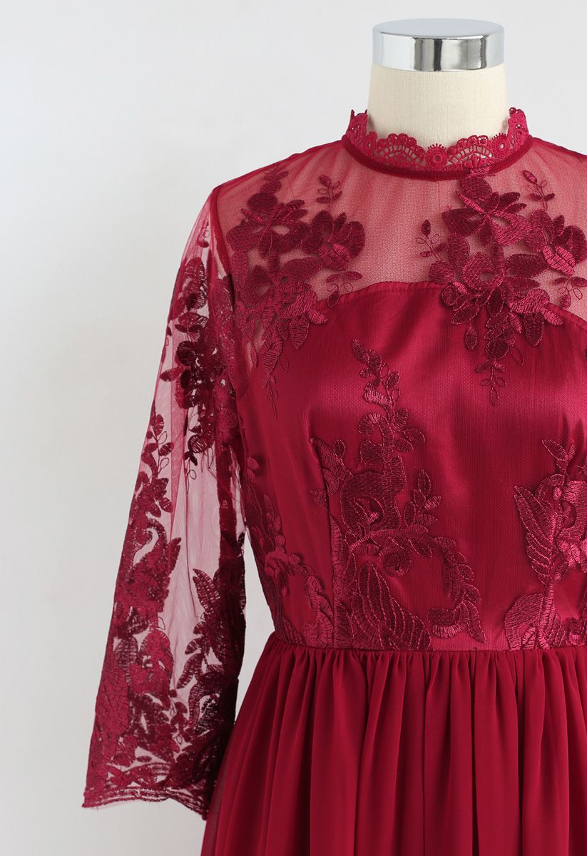 Cheery Moment Embroidered Mesh Chiffon Dress in Red
