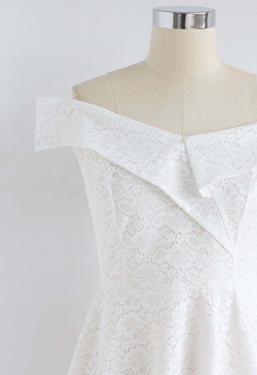 The Way You Are Off-Shoulder Lace Dress in White